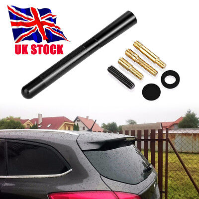 Car Bee-Sting Stubby Short Carbon Fibre Aerial Ariel Arial Mast Antenna Black Uk