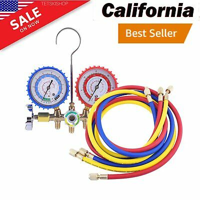 AC Manifold Gauge R12 R22 R134A HVAC AC Refrigeration Testing Charging Set AS