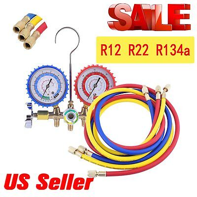R134a R12 R22 AC A/C Manifold Gauge Set 3FT Colored Hose Air Conditioner AS