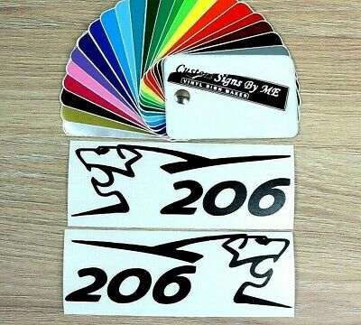 2x Peugeot 206 Side Mirror Stickers Vinyl Decals Adhesive Window Bumper Tailgate