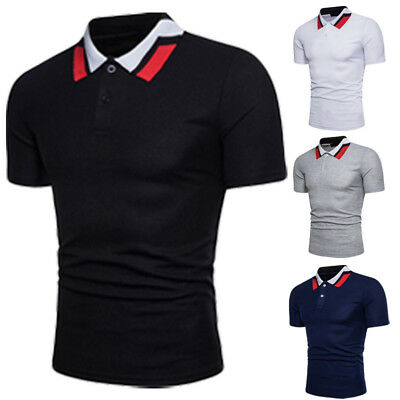 Muscle Mens Polo Short Sleeve Plain Top Tee Designer Style Fit T Shirt Blouse