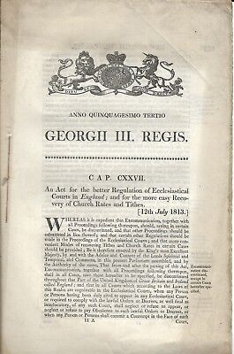 "Act of Parliament, George III ""For Regulation of Ecclesiastical Courts..."" 1813"