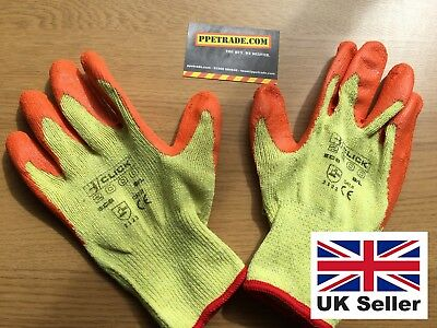 5 Pairs LARGE Rubber Safety Gripper Gloves Mens Builders Gardening DIY