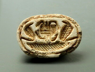 Egyptian Steatite Scarab With Hieroglyphs To Base (L996)