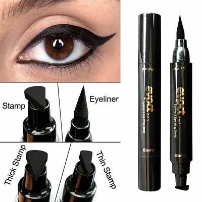 2in 1 Eyeliner Vamp Pen Seal Eye Liner Stamp Winged Head Makeup Waterproof bLK T