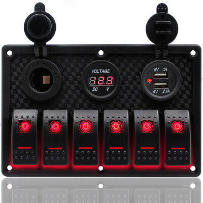 AU 6Gang Waterproof Rocker Switch Control Panel with Red LED for Car Marine Boat