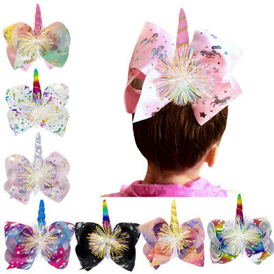 UK Large Size Smile Kids Rose Unicorn Bow Hair Clip Children's Hair Accessories