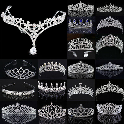 Princess Wedding Bridal Party Prom Crystal Rhinestone Pearl Tiara Crown Headband