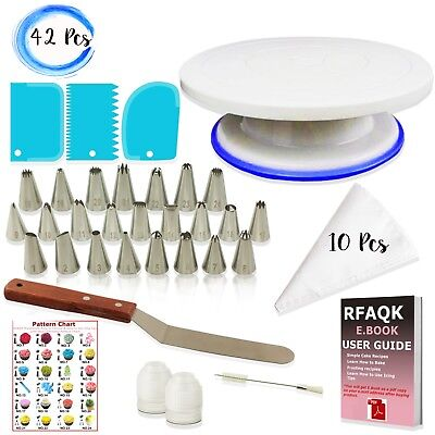 "Best Cake Decorating kit- Turntable 11""-24 Icing nozzles-Spatula-Bags-Tools Set"