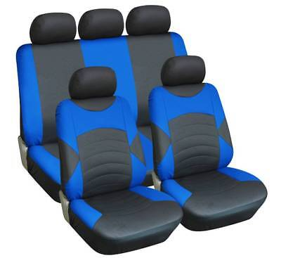 BLACK & BLUE FAUX LEATHER SEAT COVER SET for MORRIS MINOR (69-ON)
