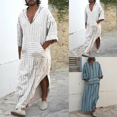 UK STOCK Mens Striped Hoddies Causal Islamic Arab Kaftan Long Sleeve T-shirt Top
