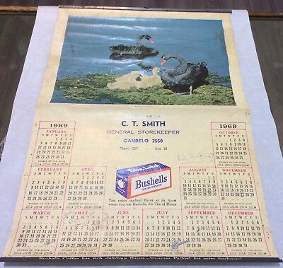 VINTAGE 1969 CALENDAR C SMITH GENERAL STOREKEEPER CANDELO with BUSHELLS TEA ADV