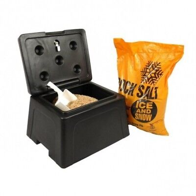 Mini 30 Litre Grit Bin Kit - Includes 1 Bag of Winter Salt, Scoop and Padlock