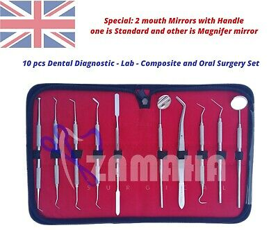 Pro Set Dental Dentist Scalers Tweezer Instruments pick tool set PU Leather Case