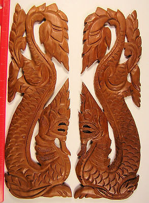 Burma, Myanmar Carved teak dragon wall plaques.  12 by 4 inches (305 x 97 mm)