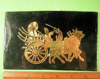 Burma, Myanmar Lacquerware Plaque with oxcart with driver and lady.