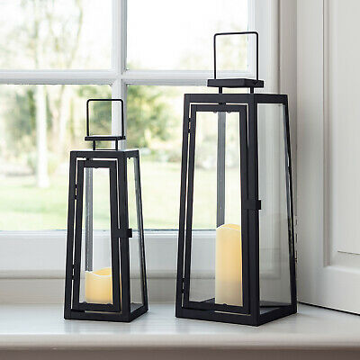 Set of 2 Black Metal Outdoor Battery Candle Lanterns Warm White LED with Timer