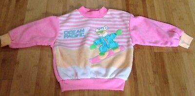 Vtg 80s Ocean Pacific OP Pink Sweatshirt Girls Kids Sz 4 Ski Snowboard Bear Snow