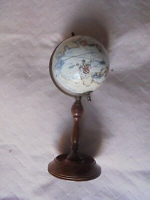 Vintage Small World Globe On Wood and Brass Metal Stand 10.5""