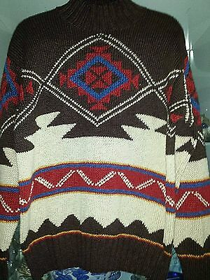 Vintage Ralph Lauren Aztec Hand Knit Heavy Sweater LS Linen Cotton Multi Size M