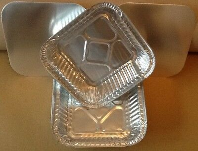 "Square Aluminium Foil Trays and Lids 6""x6"" Disposable Baking Catering Containers"