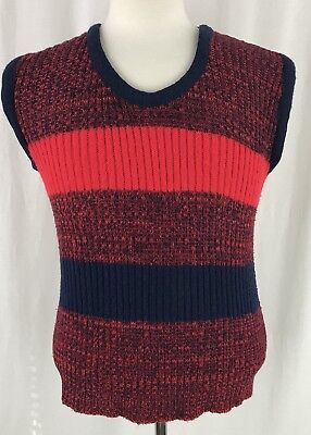 Vintage 60s 70s Mens Sweater Vest Red Blue Stripe NewYorker Size M Made in USA