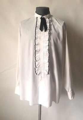 Vintage White Rocola Emboidered Front Dress Shirt 16 Collar 44 46 Chest Large