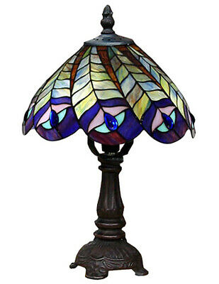 30Cm Tiffany Style Table Lamp Peacock 20Cm Glass Shade Free Light Bulb