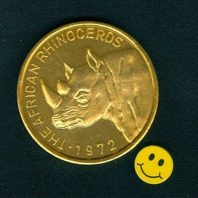 African Rhinoceros Thick 10ga. Gold Aluminum Zulu Mardi Gras Doubloon Coin 1972