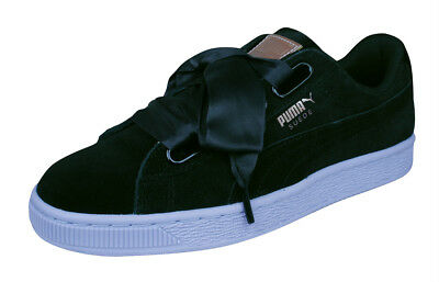 Puma Basket Heart VR Womens Suede Sneakers Shoes w Wide Silk Laces -Black ccc3de39e