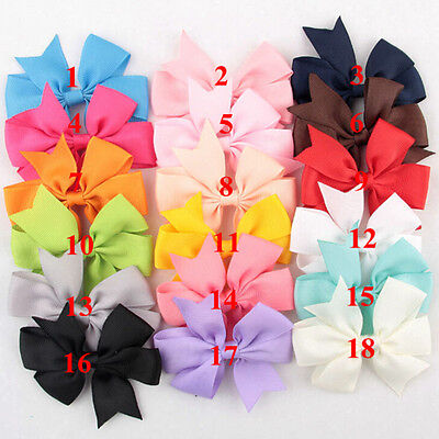 18 Pcs/Bag Hair Bows Kids Cloth Ribbon Boutique Lovely No Clips for Girls FU