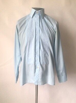 Vintage 1970s Blue Tootal Embroidered Front Dress Shirt 14 Collar 36 38 Chest