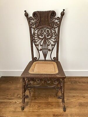 Antique Ornate Wicker Chair Victorian Turn of the Century