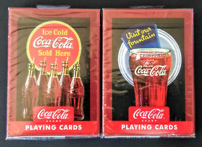 2 DECKS Set Coca Cola Vintage Style Playing Cards by Bicycle New & Sealed