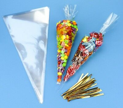 Big Clear Cellophane Cone Party Bags & FREE Twist Ties Sweet Cello Candy Treats