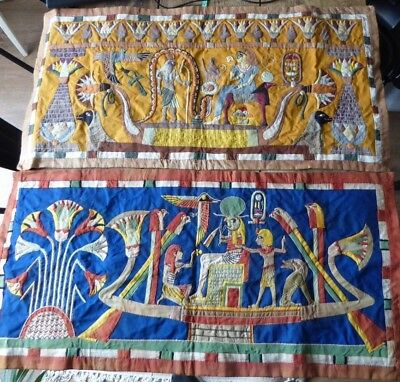 Pair of 1920s Egyptian Tapestries - Hieroglyphics Antique Textiles Embroidery