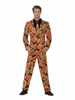 Smiffy's Stand Out Pumpkins Halloween Suit Adult Mens Jacket Pants Tie MD-XL