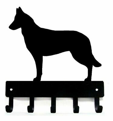 Belgian Malinois Key Rack/ Dog Leash Hanger with 5 Hooks -Small 6in -Made in US