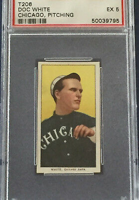 1909-11 T206 Doc White Chicago Pitching baseball card - PSA 5.  Sweet Caporal