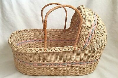 """Wicker Baby Moses Basket with Pink & Blue Trim Large 26"""" x 14"""" x 18"""" Photo Prop"""