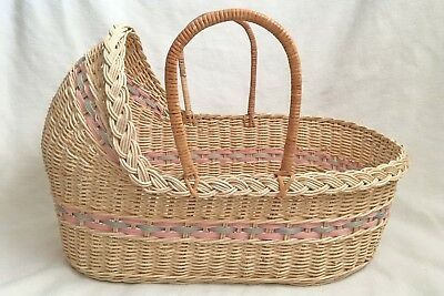 """Wicker Baby Moses Basket with Pink & Blue Trim Medium 22"""" x 12"""" x 15"""" Photo Prop"""