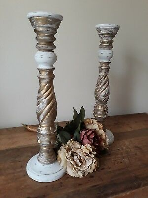 Large Distressed Wooden Candlesticks Upcycled