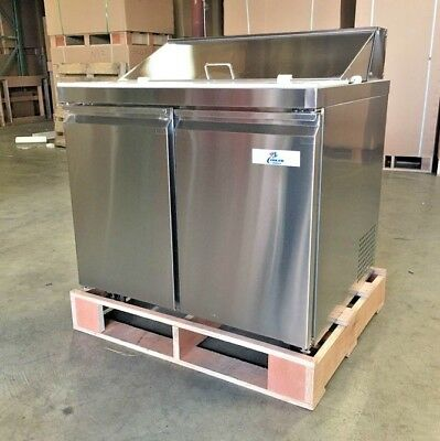 """NEW 36"""" Sandwich Salad Pizza Prep Table Mobile Refrigerator Model SCL2-36 NSF"""