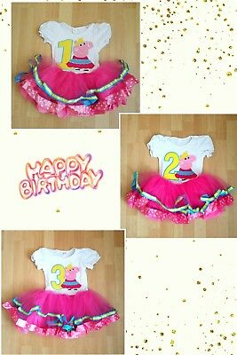 Peppa Pig Baby Girl Birthday Party Outfit Dress  1year to 3 year old
