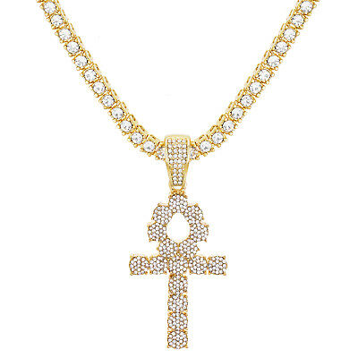 """Ankh Cross Pendant Cold Plated Iced Stone 24"""" Tennis Chain Necklace  TMP 722 G"""