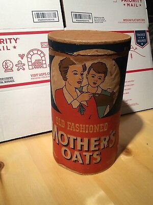 Vintage Old Fashioned Mothers Oats Oatmeal Advertising Cardboard Container W Lid