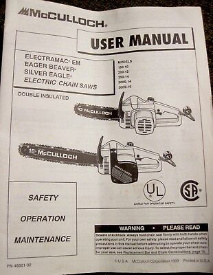 Mcculloch silver eagle electric chainsaw manual user guide manual manuals guides outdoor power equipment yard garden outdoor rh picclick com mcculloch 4600 chainsaw parts mcculloch silver eagle 32 bcs fandeluxe Images