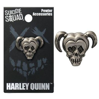 Suicide Squad NEW * Harley Quinn Lapel Pin * Pewter Skull Charm Pin Licensed