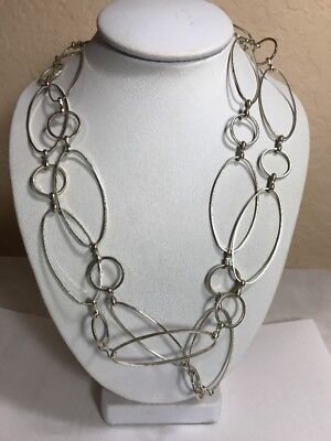 """Sterling Silver 925 Oval Circle Link 37"""" Long Toggle Necklace"""
