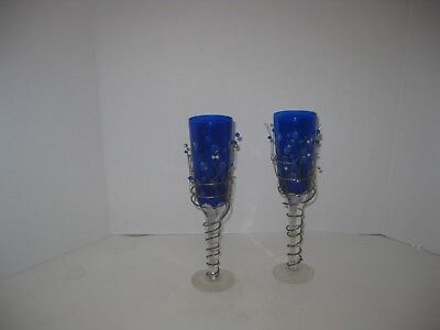 2 Art Deco Cobalt Blue Cut To Clear Wire Wrapped Flutes Glasses Polka Dot